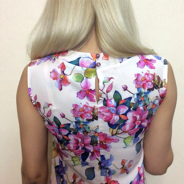 Платье летнее трапеция, без рукавов П165