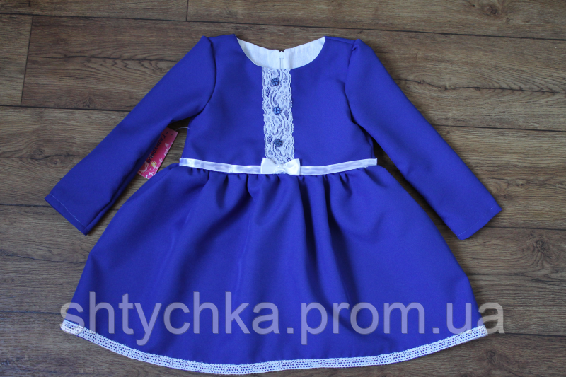 """Повседневно - нарядное платье на девочку """" синее с пуговичками"""""""