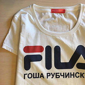 Футболка Гоша Рубчинский FILA женская белая Топовая бирка Живые фото | Качественная реплика