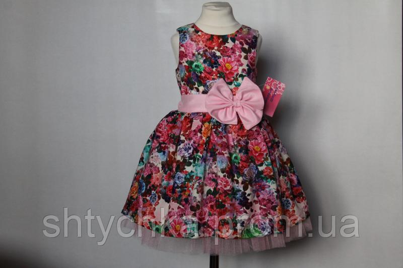 """Нарядное платье """"Яркий праздник"""" с розовым поясом и бантом"""