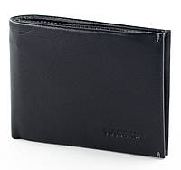 Компактный мужской зажим для денег HASSION из натуральной кожи в классическом черном цвете (H-009)