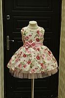 """Нарядное платье """" Цветочная радость"""" розовая"""