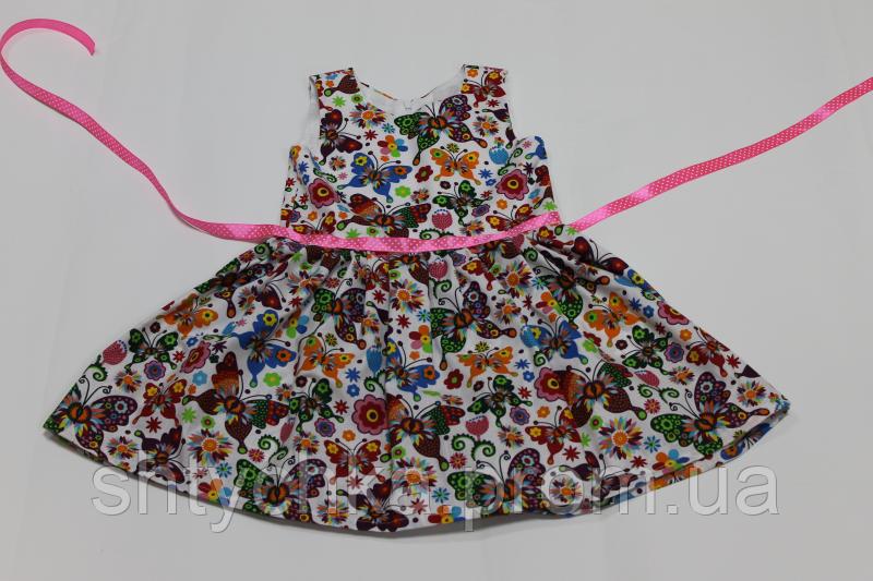 """Повседневно - нарядное платье на девочку """"Летние бабочки"""""""