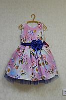 """Нарядное платье """" Цветочек вишеньки"""" на розовом фоне"""