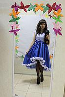 """Нарядное платье на маму и доченьку в стиле Фэмели Лук """" Синие рюшики"""""""
