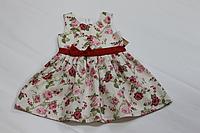 """Повседневно - нарядное платье """"Цветочная радость с красным поясом"""""""