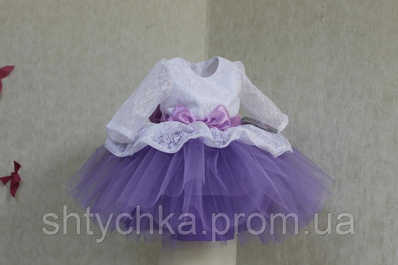 """Нарядное платье на девочку с рукавом """"Карамелька"""" - бело - сиреневое"""