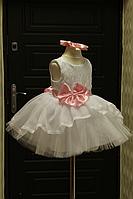 """Нарядное платье на девочку """"Мармеладка"""" бело с розовым поясом и бантом"""