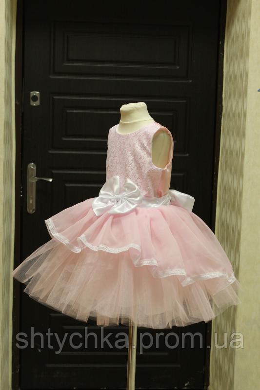 """Нарядное платье на девочку """"Мармеладка"""" - розовое - белое"""