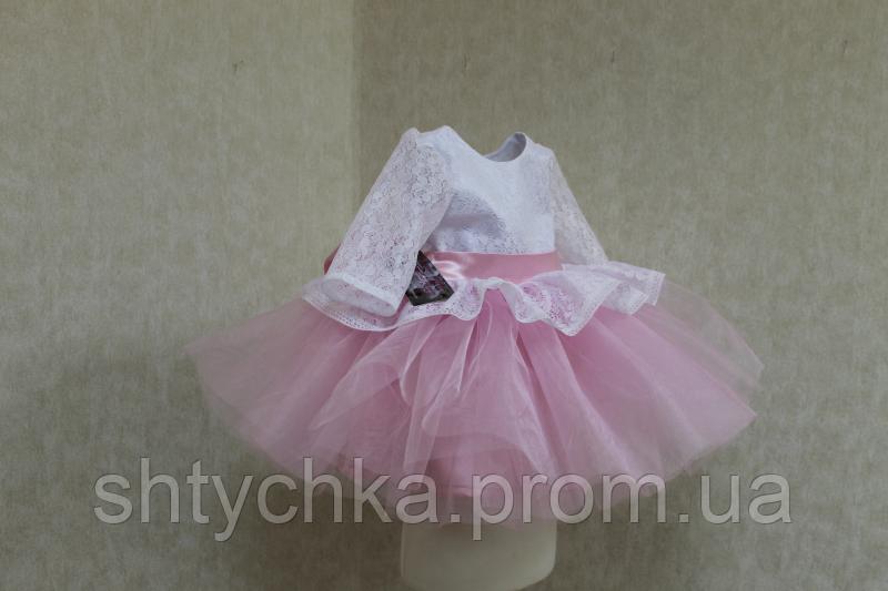 """Нарядное платье на девочку с рукавом """"Карамелька"""" - бело - розовое"""