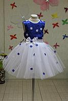 """Нарядное платье на девочку """"Гламурный синий цветочек"""""""