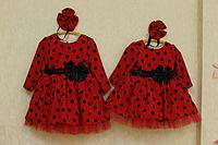 """Нарядное платье с мокрого шелка """"Гламурная горошинка"""" с длинным рукавом"""