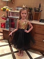 """Нарядное платье на девочку """"Илария"""" золото с черным"""