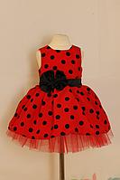 """Нарядное платье на девочку """"Гламурная горошинка"""" красное с черным"""