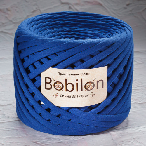 Ленточная пряжа Bobilon Medium (7-9мм). Синий электрик