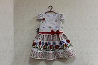 """Повседневно - нарядное платье на девочку """"Красная маковка"""" на сером фоне"""