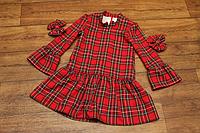 """Повседневно - нарядное платье на девочку """"Красная клеточка"""" с рюшами"""