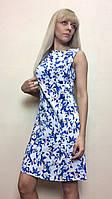 Летнее платье-трапеция из стрейч-льна П190, фото 1