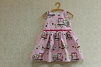 """Повседневно - нарядное платье на девочку """"Совушки"""" (расцветка № 2)  на розовом фоне"""