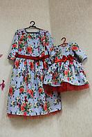 """Нарядные платья на маму и доченьку в стиле  """"Family Look"""" - голубое с красными розами и фатином"""