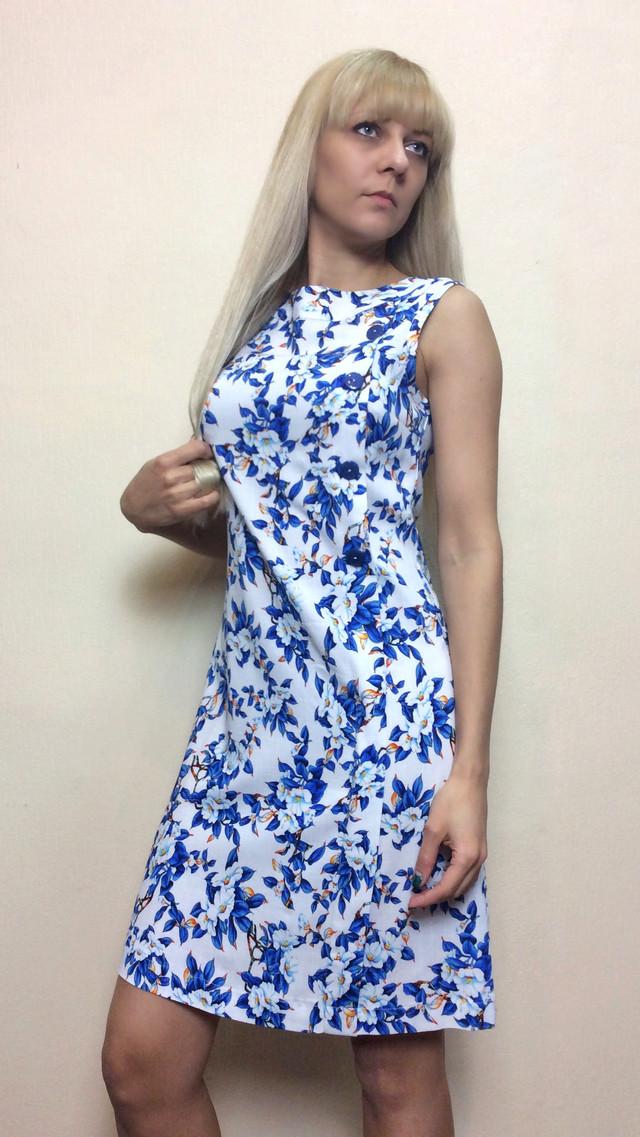 Летнее платье-трапеция из стрейч-льна П190