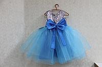 """Нарядное платье на девочку """" Серебренные пайетки""""  с голубым низом"""