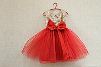 """Нарядное платье на девочку """" Золотые пайетки""""  с красным низом"""