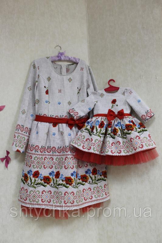 Нарядные платья на маму и доченьку в укр стиле №1