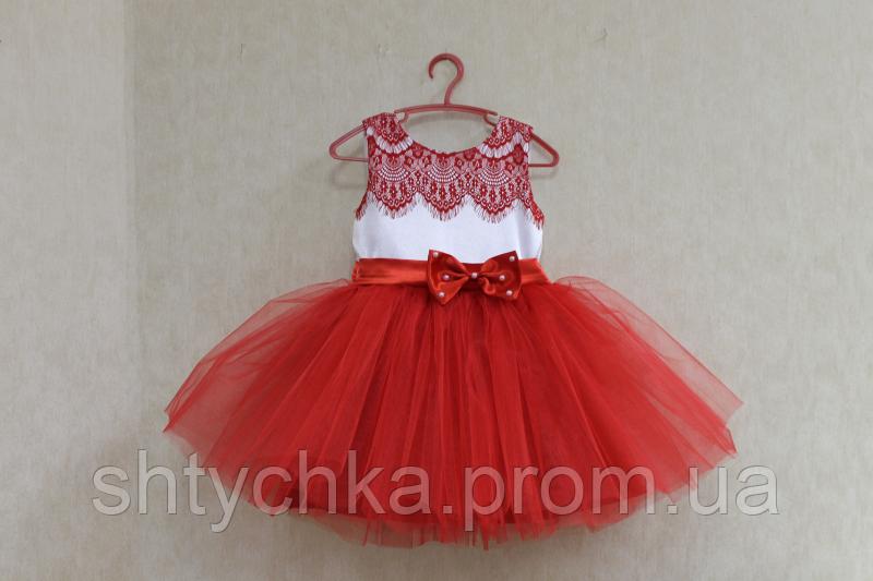 """Нарядное платье на девочку """"Красные реснички"""""""