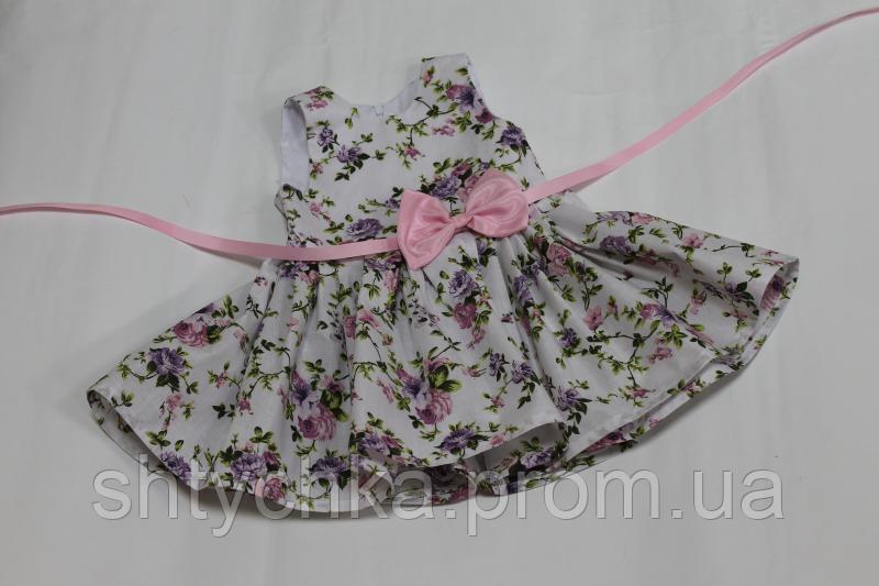 """Повседневно - нарядное платье на девочку """"Цветочное настроение"""" без рукавов с розовым поясом и бантиком"""