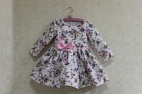 """Повседневно - нарядное платье на девочку """"Цветочное настроение"""" с рукавами,  розовым поясом и бантиком"""