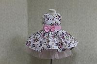 """Повседневно - нарядное платье на девочку """"Цветочное настроение"""" без рукавов, с светло розовым поясом и бантиком"""