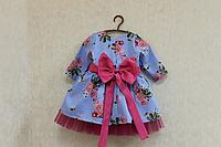 """Нарядное платье на девочку """"Цветочек в облачке"""" с длинным рукавом"""