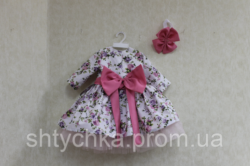 """Нарядное платье на девочку """"Цветочное настроение"""" с рукавами и большим бантом сзади"""
