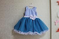 """Нарядное платье на девочку """"Рюшики - голубая лагуна"""""""