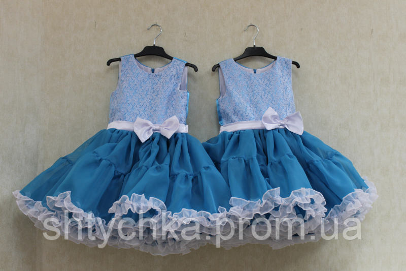 """Нарядное платье на девочку """"Двойные рюшики"""" голубая лагуна"""