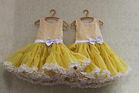 """Нарядное платье на девочку """"Двойные рюшики"""" желтое"""