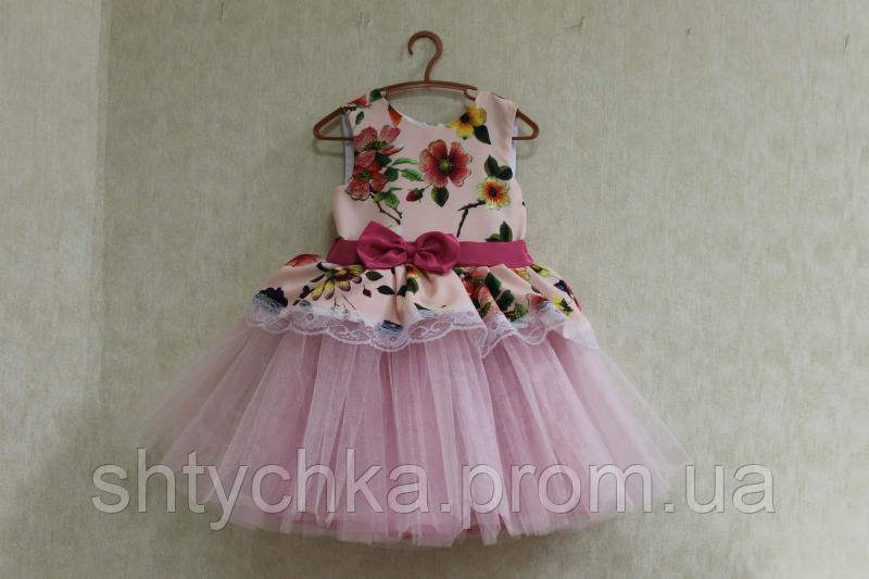 """Нарядное платье на девочку """"Гламурная радость"""" с розовым фатином и верхом"""