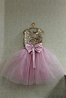 """Нарядное платье на девочку """" Золотые пайетки""""  с розовым  низом."""