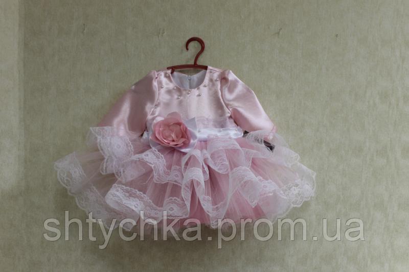"""Нарядное платье на девочку """"Нежная розочка"""" в розовом цвете с рукавами"""