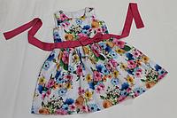 """Летнее платье на девочку """" Яркий цветочек"""" с малиновым поясом и бантом"""