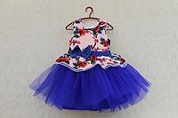 """Нарядное платье на девочку """"Гламурная радость"""" с синим фатином и 3Д принтом"""