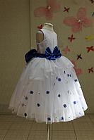 """Нарядное платье на девочку """"Мармеладка"""" с сисими цветочками и бусинками"""
