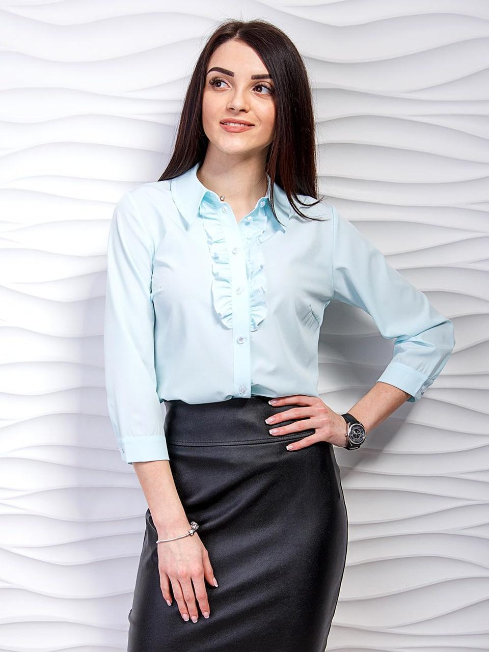 Нарядная блуза с рюшами и четвертным рукавом   продажа 83b8a06302e11