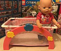 Детская кроватка манеж 2 в 1 для Baby Born Беби Борн арт. 9006 кровать, подушка, простыня/покрывало