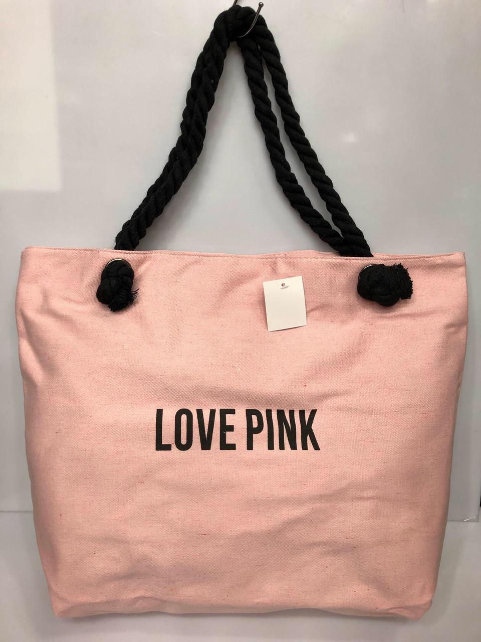 Пляжная сумка на канатах  Love pink