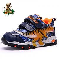 Светящиеся 3D кроссовки «Dinosoles» T-REX blue-orange, для детей