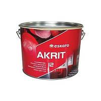 Износостойкая моющаяся краска Akrit 12 Eskaro 9,5л – для стен и потолка (полуматовая)