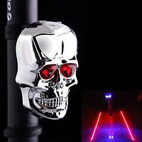 Led, лазерная светодиодная подсветка для велосипеда череп под седло. Задний светодиодный фонарь велофонарь , фото 1