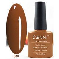 Гель лак Canni 016 пастельный коричневый 7,3 мл